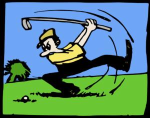 golfeur énervé de rater son coup